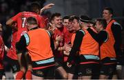 12 January 2019; Jacob Stockdale of Ulster, centre, celebrates with teammates and subs after scoring his side's third try during the Heineken Champions Cup Pool 4 Round 5 match between Ulster and Racing 92 at the Kingspan Stadium in Belfast, Co. Antrim. Photo by Oliver McVeigh/Sportsfile