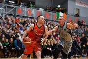 12 January 2019; Paddy Sullivan of Pyrobel Killester in action against Kieran Donaghy of Garvey's Tralee Warriors during the Hula Hoops Men's Pat Duffy National Cup semi-final match between Pyrobel Killester and Garvey's Tralee Warriors at the Mardyke Arena UCC in Cork. Photo by Brendan Moran/Sportsfile
