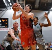 12 January 2019; Ciaran Roe of Pyrobel Killester in action against Kieran Donaghy, left, and Jordan Evans of Garvey's Tralee Warriors during the Hula Hoops Men's Pat Duffy National Cup semi-final match between Pyrobel Killester and Garvey's Tralee Warriors at the Mardyke Arena UCC in Cork. Photo by Brendan Moran/Sportsfile
