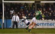 12 January 2019; Andy Bunyan of Dublin saves a penalty from Thomas O'Reilly of Meath during the Bord na Mona O'Byrne Cup semi-final match between Dublin and Meath at Parnell Park in Dublin. Photo by Sam Barnes/Sportsfile
