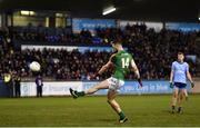 12 January 2019; Michael Newman of Meath scores a late free to take the game to a penalty shoot out during the Bord na Mona O'Byrne Cup semi-final match between Dublin and Meath at Parnell Park in Dublin. Photo by Sam Barnes/Sportsfile
