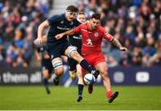 12 January 2019; Max Deegan of Leinster and Sofiane Guitoune of Toulouse during the Heineken Champions Cup Pool 1 Round 5 match between Leinster and Toulouse at the RDS Arena in Dublin. Photo by Stephen McCarthy/Sportsfile