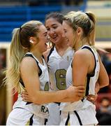 12 January 2019; Aoife Callaghan of Ulster University Elks celebrates with teammates Seana Harley-Moyles and Nichola Rafferty of Ulster University Elks during the Hula Hoops Women's Division One National Cup semi-final match between Portlaoise Panthers and Ulster University Elks at Neptune Stadium in Cork.  Photo by Eóin Noonan/Sportsfile