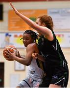 12 January 2019; Kollyns Scarbrough of Ulster University Elks in action against Deirdre Tomlinson of Portlaoise Panthers during the Hula Hoops Women's Division One National Cup semi-final match between Portlaoise Panthers and Ulster University Elks at Neptune Stadium in Cork.  Photo by Eóin Noonan/Sportsfile