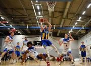 12 January 2019; Mike Garrow of UCD Marian in action against Mike Davis of Belfast Star during the Hula Hoops Men's Pat Duffy National Cup semi-final match between UCD Marian and Belfast Star at the Mardyke Arena UCC in Cork. Photo by Brendan Moran/Sportsfile