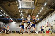 12 January 2019; Conor Meany of UCD Marian is blocked by Mike Thiep of Belfast Star during the Hula Hoops Men's Pat Duffy National Cup semi-final match between UCD Marian and Belfast Star at the Mardyke Arena UCC in Cork. Photo by Brendan Moran/Sportsfile