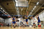 12 January 2019; Conor Meany of UCD Marian in action against Mike Thiep of Belfast Star during the Hula Hoops Men's Pat Duffy National Cup semi-final match between UCD Marian and Belfast Star at the Mardyke Arena UCC in Cork.  Photo by Brendan Moran/Sportsfile