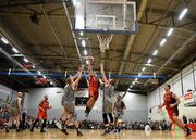 12 January 2019; Ciaran Roe of Pyrobel Killester in action against Darren O'Sullivan and Kieran Donaghy of Garvey's Tralee Warriors during the Hula Hoops Men's Pat Duffy National Cup semi-final match between Pyrobel Killester and Garvey's Tralee Warriors at the Mardyke Arena UCC in Cork.  Photo by Brendan Moran/Sportsfile