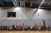 12 January 2019; Royce Williams of Pyrobel Killester shoots a basket during the Hula Hoops Men's Pat Duffy National Cup semi-final match between Pyrobel Killester and Garvey's Tralee Warriors at the Mardyke Arena UCC in Cork. Photo by Brendan Moran/Sportsfile