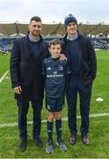 12 January 2019; Matchday mascot 11 year old Rory McGrath, from Swords, Co. Dublin, with Lenster players Rob Kearney and Jonathan Sexton prior to the Heineken Champions Cup Pool 1 Round 5 match between Leinster and Toulouse at the RDS Arena in Dublin. Photo by Ramsey Cardy/Sportsfile