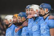 13 January 2019; Eoghan O'Donnell and his Dublin teammates stand for the National Anthem ahead of the Bord na Mona Walsh Cup semi-final match between Dublin and Galway at Parnell Park in Dublin.  Photo by Ramsey Cardy/Sportsfile