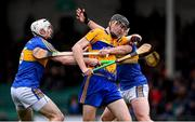 13 January 2019; Colin Guilfoyle of Clare in action against Séamus Kennedy, left, and Padraic Maher of Tipperary during the Co-Op Superstores Munster Hurling League Final 2019 match between Clare and Tipperary at the Gaelic Grounds in Limerick. Photo by Piaras Ó Mídheach/Sportsfile