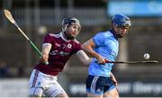 13 January 2019; Rian McBride of Dublin in action against Padraic Mannion of Galway during the Bord na Mona Walsh Cup semi-final match between Dublin and Galway at Parnell Park in Dublin.  Photo by Ramsey Cardy/Sportsfile