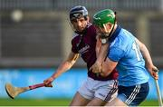 13 January 2019; Fergal Whitely of Dublin is tackled by Kevin Hussey of Galway during the Bord na Mona Walsh Cup semi-final match between Dublin and Galway at Parnell Park in Dublin.  Photo by Ramsey Cardy/Sportsfile