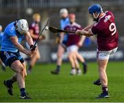 13 January 2019; Sean Kilduff of Galway is tackled by Liam Rushe of Dublin during the Bord na Mona Walsh Cup semi-final match between Dublin and Galway at Parnell Park in Dublin.  Photo by Ramsey Cardy/Sportsfile