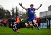 13 January 2019; Pat Hughes of Sligo in action against Garry Patterson of Roscommon during the Connacht FBD League semi-final match between Roscommon and Sligo at Dr. Hyde Park in Roscommon. Photo by David Fitzgerald/Sportsfile