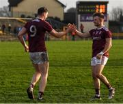 13 January 2019; Thomas Flynn is congratulated for scoring the winning penalty by Eoghan Kerin of Galway following the Connacht FBD League semi-final match between Galway and Mayo at Tuam Stadium in Galway. Photo by Harry Murphy/Sportsfile