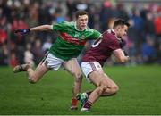 13 January 2019; Cillian McDaid of Galway in action against Fionn McDonagh of Mayo during the Connacht FBD League semi-final match between Galway and Mayo at Tuam Stadium in Galway. Photo by Harry Murphy/Sportsfile