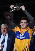13 January 2019; Clare captain Tony Kelly lifts the cup in the presence of Munster Council Chairman Jerry O'Sullivan following the Co-Op Superstores Munster Hurling League Final 2019 match between Clare and Tipperary at the Gaelic Grounds in Limerick. Photo by Piaras Ó Mídheach/Sportsfile