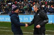 13 January 2019; Galway manager Micheal Donoghue, left, shakes hands with Dublin manager Mattie Kenny following the Bord na Mona Walsh Cup semi-final match between Dublin and Galway at Parnell Park in Dublin. Photo by Ramsey Cardy/Sportsfile