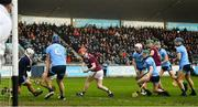 13 January 2019; Dublin goalkeeper Alan Nolan makes a save from Tómas Monaghan of Galway during the Bord na Mona Walsh Cup semi-final match between Dublin and Galway at Parnell Park in Dublin.  Photo by Ramsey Cardy/Sportsfile