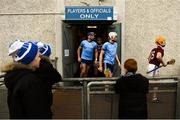 13 January 2019; Galway and Dublin players run out for the second half of the Bord na Mona Walsh Cup semi-final match between Dublin and Galway at Parnell Park in Dublin. Photo by Ramsey Cardy/Sportsfile