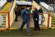 13 January 2019; Armagh manager Kieran McGeeney enter the field before the Bank of Ireland Dr McKenna Cup semi-final match between Donegal and Armagh at Healy Park in Tyrone. Photo by Oliver McVeigh/Sportsfile