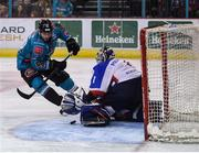 13 January 2019; Kyle Baun of Belfast Giants has his shot saved by Ivan Poloshkov of Arlan Kokshetau during the IIHF Continental Cup Final match between Arlan Kokshetau and Stena Line Belfast Giants at the SSE Arena in Belfast, Co. Antrim. Photo by Eoin Smith/Sportsfile