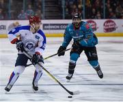 13 January 2019; Sergey Egorov of Arlan Kokshetau in action against Blair Riley of Belfast Giants during the IIHF Continental Cup Final match between Arlan Kokshetau and Stena Line Belfast Giants at the SSE Arena in Belfast, Co. Antrim. Photo by Eoin Smith/Sportsfile