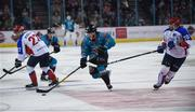 13 January 2019; Josh Roach of Belfast Giants in action against Ivan Kiselev, left, and Vladislav Kolesnikov of Arlan Kokshetau during the IIHF Continental Cup Final match between Arlan Kokshetau and Stena Line Belfast Giants at the SSE Arena in Belfast, Co. Antrim. Photo by Eoin Smith/Sportsfile