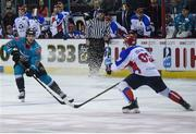 13 January 2019; Curtis Leonard of Belfast Giants in action against Sergey Egorov of Arlan Kokshetau during the IIHF Continental Cup Final match between Arlan Kokshetau and Stena Line Belfast Giants at the SSE Arena in Belfast, Co. Antrim. Photo by Eoin Smith/Sportsfile
