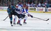 13 January 2019; David Rutherford of Belfast Giants in action against Anton Kazantsev, right, and Vladislav Kolesnikov of Arlan Kokshetau during the IIHF Continental Cup Final match between Arlan Kokshetau and Stena Line Belfast Giants at the SSE Arena in Belfast, Co. Antrim. Photo by Eoin Smith/Sportsfile