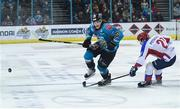 13 January 2019; Kevin Raine of Belfast Giants in action against Dmitry Potachuk of Arlan Kokshetau during the IIHF Continental Cup Final match between Arlan Kokshetau and Stena Line Belfast Giants at the SSE Arena in Belfast, Co. Antrim. Photo by Eoin Smith/Sportsfile