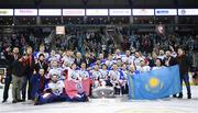 13 January 2019; Arlan Kokshetau celebrate with the trophy following the IIHF Continental Cup Final match between Arlan Kokshetau and Stena Line Belfast Giants at the SSE Arena in Belfast, Co. Antrim. Photo by Eoin Smith/Sportsfile