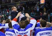 13 January 2019; Arlan Kokshetau head coach Vladimir Ivanovich Kapulovsky is held aloft by his players following the IIHF Continental Cup Final match between Arlan Kokshetau and Stena Line Belfast Giants at the SSE Arena in Belfast, Co. Antrim. Photo by Eoin Smith/Sportsfile