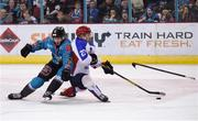 13 January 2019; Kyle Baun of Belfast Giants in action against Ivan Kiselev of Arlan Kokshetau during the IIHF Continental Cup Final match between Arlan Kokshetau and Stena Line Belfast Giants at the SSE Arena in Belfast, Co. Antrim. Photo by Eoin Smith/Sportsfile