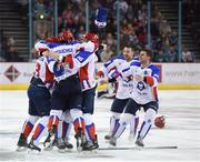 13 January 2019; Arlan Kokshetau players celebrate following the IIHF Continental Cup Final match between Arlan Kokshetau and Stena Line Belfast Giants at the SSE Arena in Belfast, Co. Antrim. Photo by Eoin Smith/Sportsfile