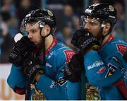 13 January 2019; A dejected David Rutherford, left, and Jonathan Boxill of Belfast Giants following the IIHF Continental Cup Final match between Arlan Kokshetau and Stena Line Belfast Giants at the SSE Arena in Belfast, Co. Antrim. Photo by Eoin Smith/Sportsfile