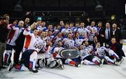 13 January 2019; Arlan Kokshetau players celebrate with the trophy following the IIHF Continental Cup Final match between Arlan Kokshetau and Stena Line Belfast Giants at the SSE Arena in Belfast, Co. Antrim. Photo by Eoin Smith/Sportsfile