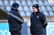 13 January 2019; Dublin selector Paul O'Brien, right, in conversation with Dublin manager Mattie Kenny ahead of the Bord na Mona Walsh Cup semi-final match between Dublin and Galway at Parnell Park in Dublin.  Photo by Ramsey Cardy/Sportsfile