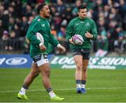 12 January 2019; Cian Kelleher, right, and Bundee Aki of Connacht warms up prior to the Heineken Challenge Cup Pool 3 Round 5 match between Connacht and Sale Sharks at the Sportsground in Galway. Photo by Harry Murphy/Sportsfile