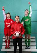 14 January 2019; The SPAR FAI Primary School 5s Programme was officially launched today by former Republic of Ireland International Keith Andrews and current Republic of Ireland Women's International Megan Campbell. Over 35,000 boys and girls from 4th, 5th and 6th class are expected to take part in this fun and inclusive nationwide programme. Register for the SPAR5s by February 15th at www.fai.ie/primary5. Pictured at the launch is Republic of Ireland international Megan Campbell with Erin Ivie, left, and Keelan Murphy, both from Our Lady of Good Counsel GNS, Johnstown Killiney. Photo by Stephen McCarthy/Sportsfile