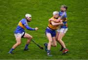 13 January 2019; Ryan Taylor of Clare in action against Colin English, right, and Patrick Maher of Tipperary during the Co-Op Superstores Munster Hurling League Final 2019 match between Clare and Tipperary at the Gaelic Grounds in Limerick. Photo by Piaras Ó Mídheach/Sportsfile
