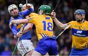 13 January 2019; Patrick Maher of Tipperary in action against Clare players, from left, Conor Cleary, Michael O'Malley, and David McInerney during the Co-Op Superstores Munster Hurling League Final 2019 match between Clare and Tipperary at the Gaelic Grounds in Limerick. Photo by Piaras Ó Mídheach/Sportsfile