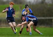 14 January 2019; Eoin Clarke of CBS Naas is tackled by David Drennan of Salesian College during the Bank of Ireland Fr. Godfrey Cup Round 1 match between CBS Naas and Salesian College at Cill Dara RFC in Kildare. Photo by Eóin Noonan/Sportsfile