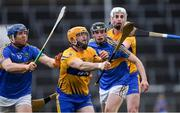 13 January 2019; Jason McCarthy of Clare, supported by team-mate Conor Cleary, behind, in action against Jason Forde, left, and Colin English of Tipperary during the Co-Op Superstores Munster Hurling League Final 2019 match between Clare and Tipperary at the Gaelic Grounds in Limerick. Photo by Piaras Ó Mídheach/Sportsfile