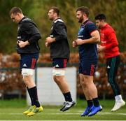 14 January 2019; Munster players, from left, Tommy O'Donnell, Tadhg Beirne, Jaco Taute and Conor Murray during Munster Rugby training at University of Limerick in Limerick. Photo by Seb Daly/Sportsfile