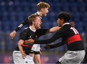 14 January 2019; Luke Hardy, left, and Chris Chong of The High School celebrate following the Bank of Ireland Fr. Godfrey Cup Round 1 match between The High School and Newpark Comprehensive at Energia Park in Dublin. Photo by Harry Murphy/Sportsfile