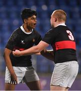 14 January 2019; Gowtham Yellapu, left, and Ben McClean Howard of The High School during the Bank of Ireland Fr. Godfrey Cup Round 1 match between The High School and Newpark Comprehensive at Energia Park in Dublin. Photo by Harry Murphy/Sportsfile