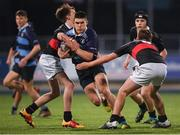 14 January 2019; Harry O'Sullivan of Newpark Comprehensive School is tackled by Ross Molloy, left, and Marcus Empey of The High School during the Bank of Ireland Fr. Godfrey Cup Round 1 match between The High School and Newpark Comprehensive at Energia Park in Dublin. Photo by Harry Murphy/Sportsfile